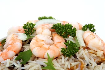Rice with shrimp toppings
