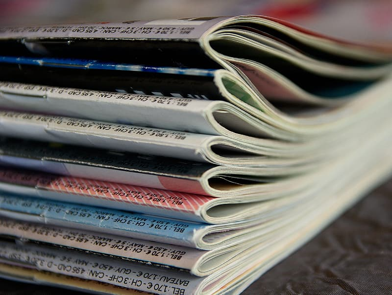 Close-up photo of assorted-title magazines