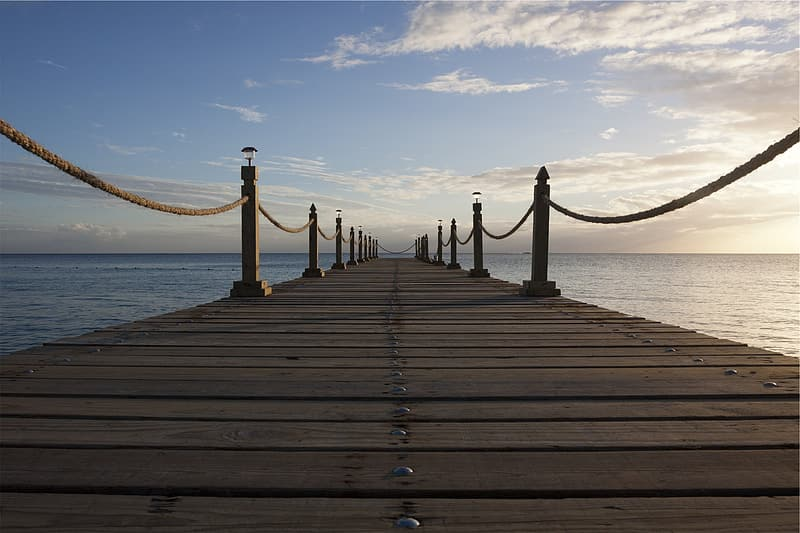 Low angle photography of brown wooden dock
