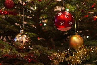 Red, gray, and gold baubles on Christmas tree
