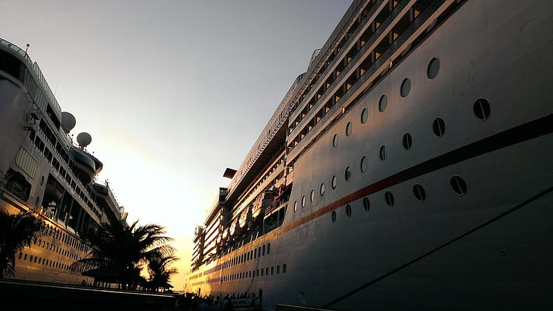 White cruise ship during golden hour