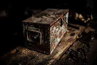 Old boxes in a workshop
