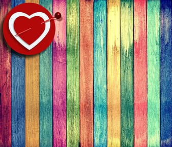 Red green and blue striped heart