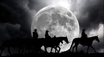 Silhouette of people riding horses under full moon