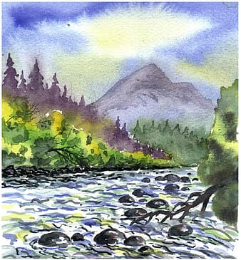 Body of water beside mountain painting