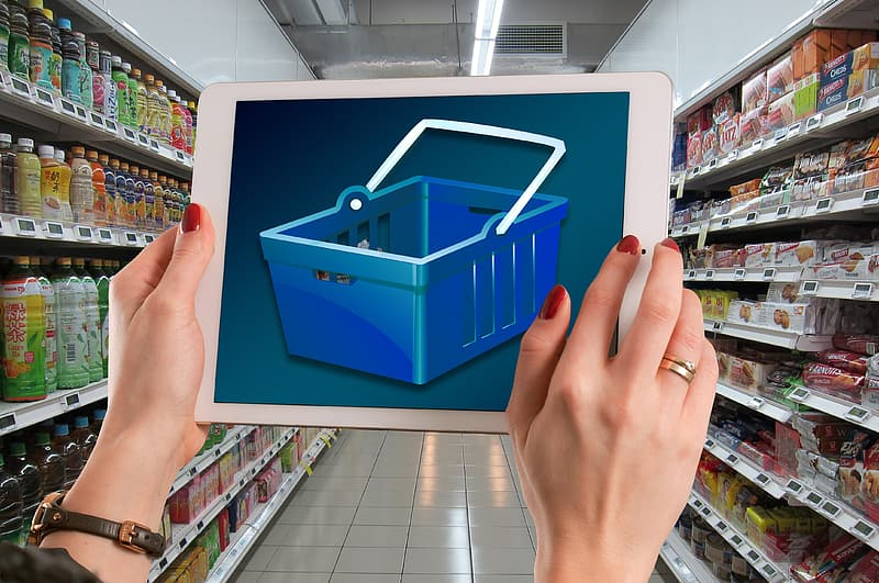 Blue and white plastic container