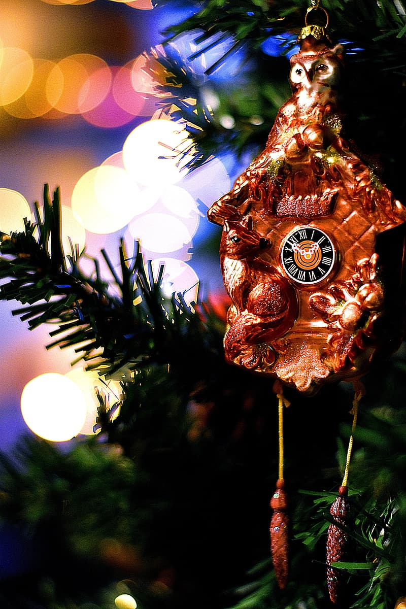 Gold and white christmas baubles