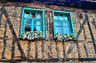 Beige bricked building with teal wooden windows