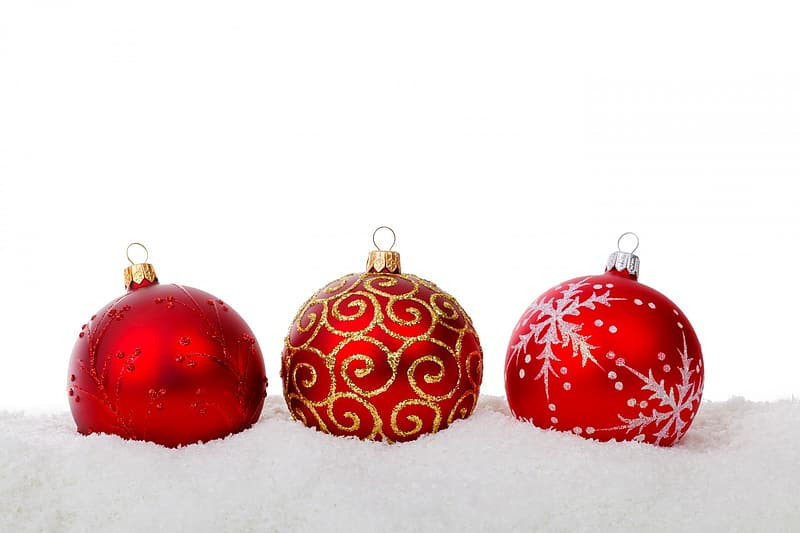 Three red baubles on