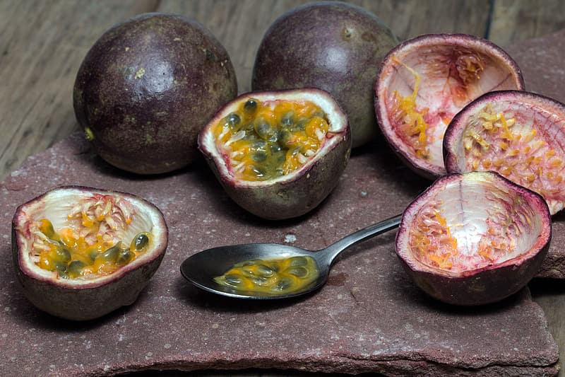 Close-up photo of brown passion fruits