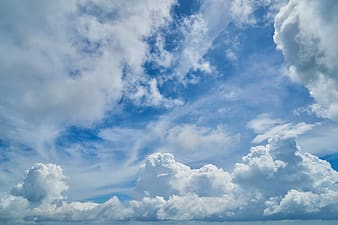 Clear blue sky with nimbus clouds