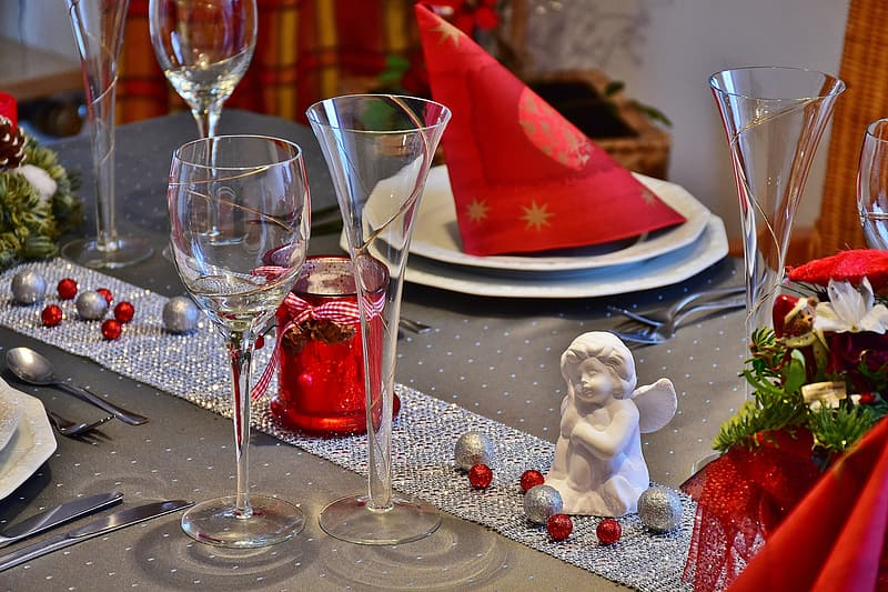 Clear glasses on gray covered table