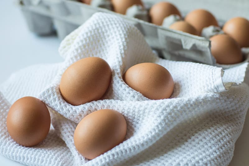 Photo of brown eggs with trays near white textile