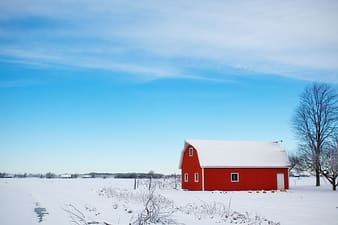 Landscape photograph of red barn house during winter