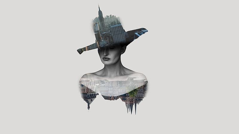 Woman with building-print hat optical illusion illustration