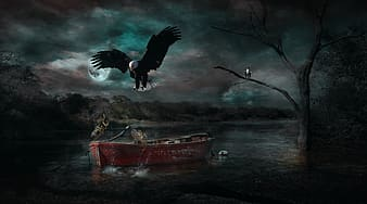 Painting of Bald Eagle, bare tree, and boat