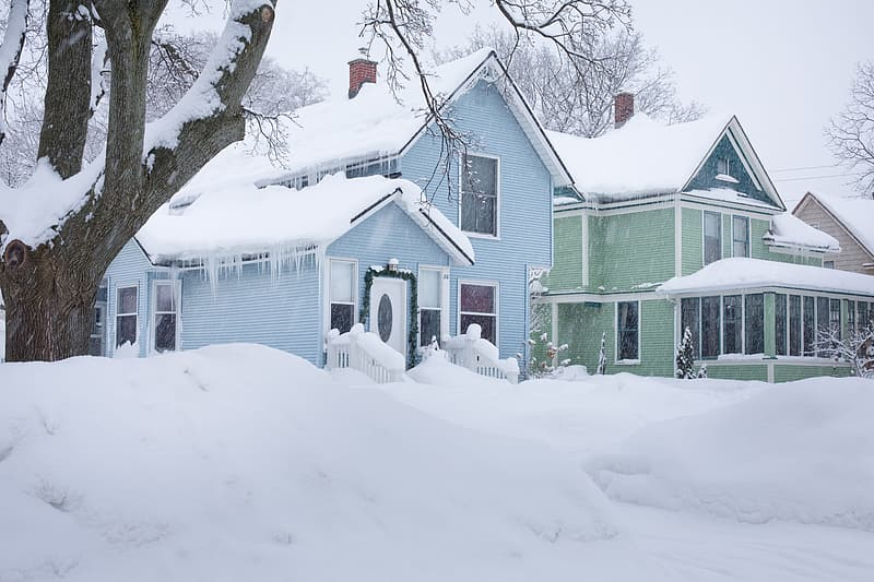 Two green and blue house covered with snow during winter