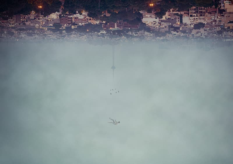 Man floating in the sky