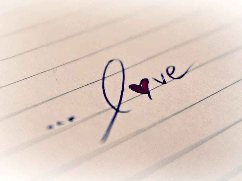 White lined paper with Love test