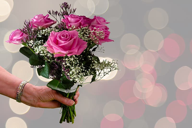 Person's holding pink rose bouquet