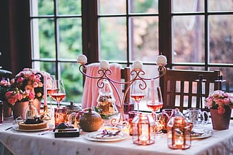 Photo of table filled with home decors