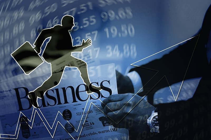 Person climbing arrow with business text overlay wallpaper