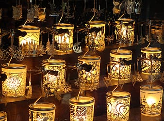 Gold floral table lamps