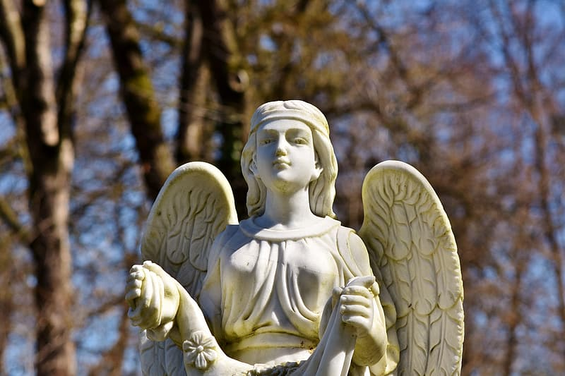 Shallow focus of angel monument outdoors