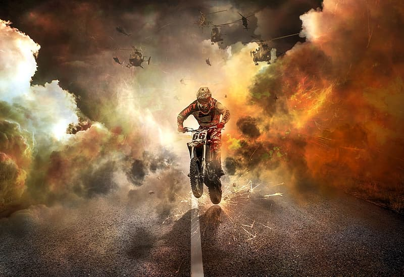 Man ride on motorcycle with helicopter digital photo