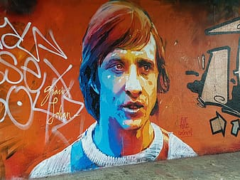 Painting of man on wall
