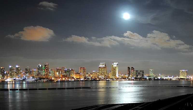 Cityscape by water during full moon