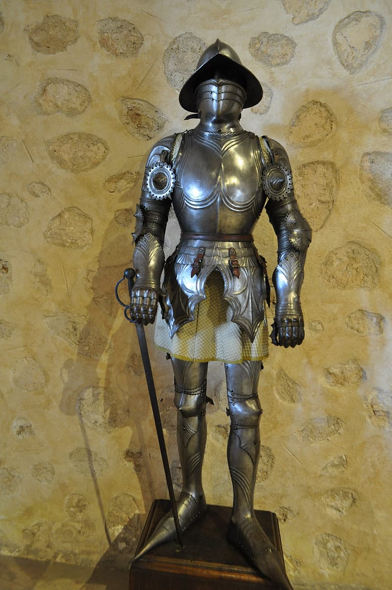 Gold and silver knight armor