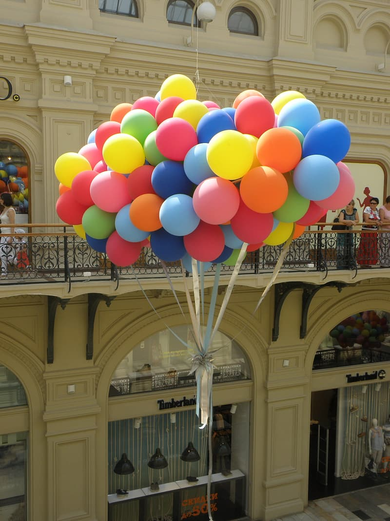 Multi colored balloons on the street