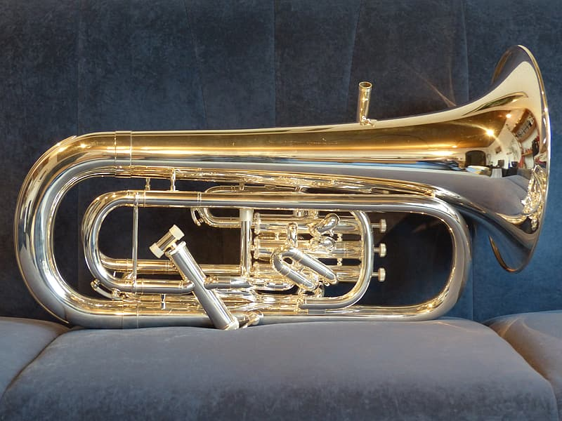 Gold-colored wind instrument