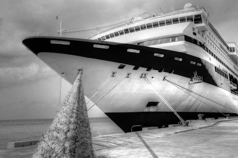 Grayscale photography of cruise ship