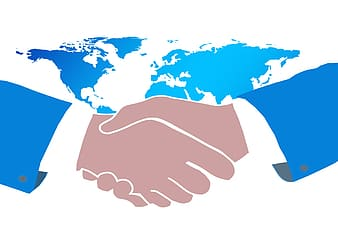 Shaking hands with world map illustration