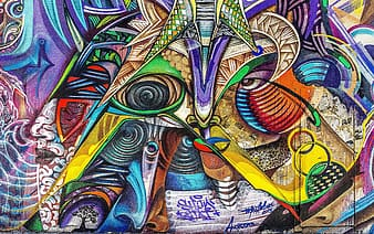 Multicolored abstract wall painting