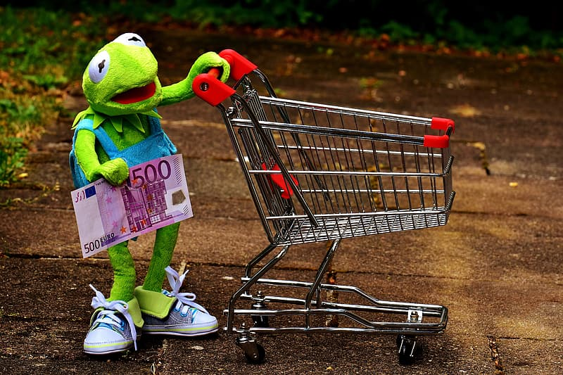 Kermit the Frog holding 500 euro banknote and grocery cart