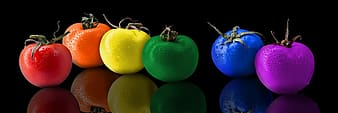 Six assorted-color tomatoes