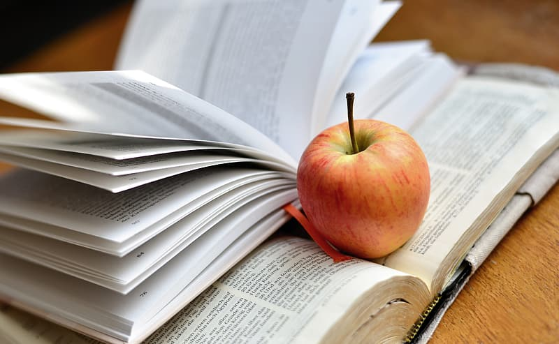 Red apple on book page