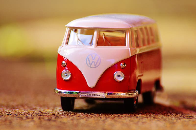 Red and white Volkswagen T1 scale model