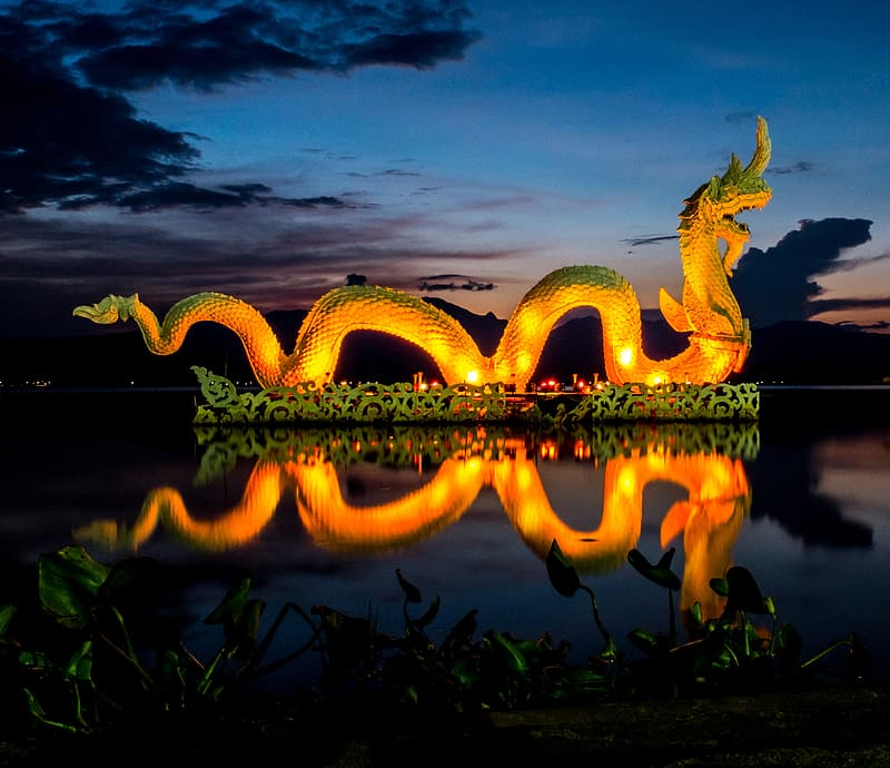 Green and yellow dragon on water