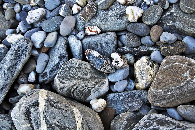 Gray and brown stone fragments