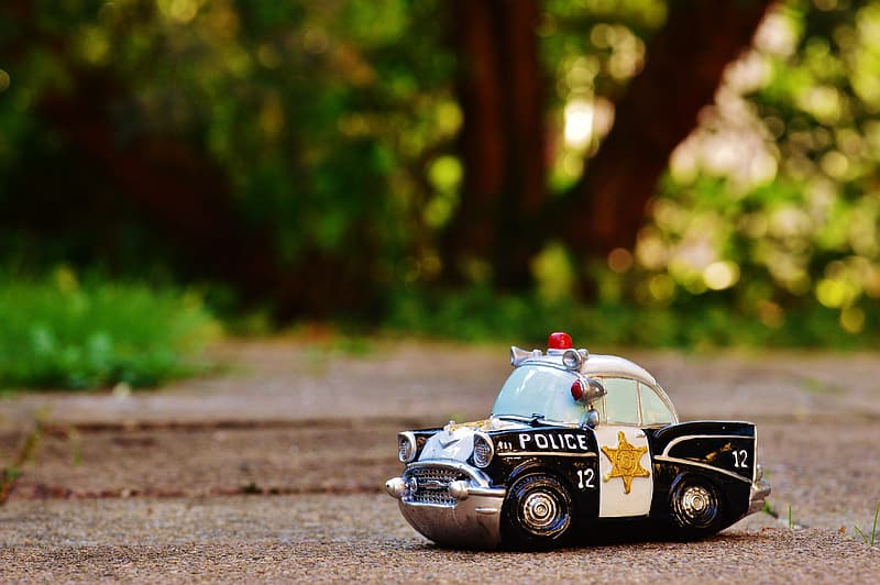 Selective focus photography of white and black police car toy on ground near trees