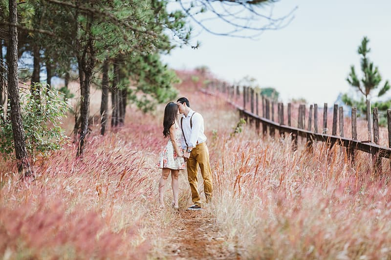 Man and woman in the middle of pink grass land