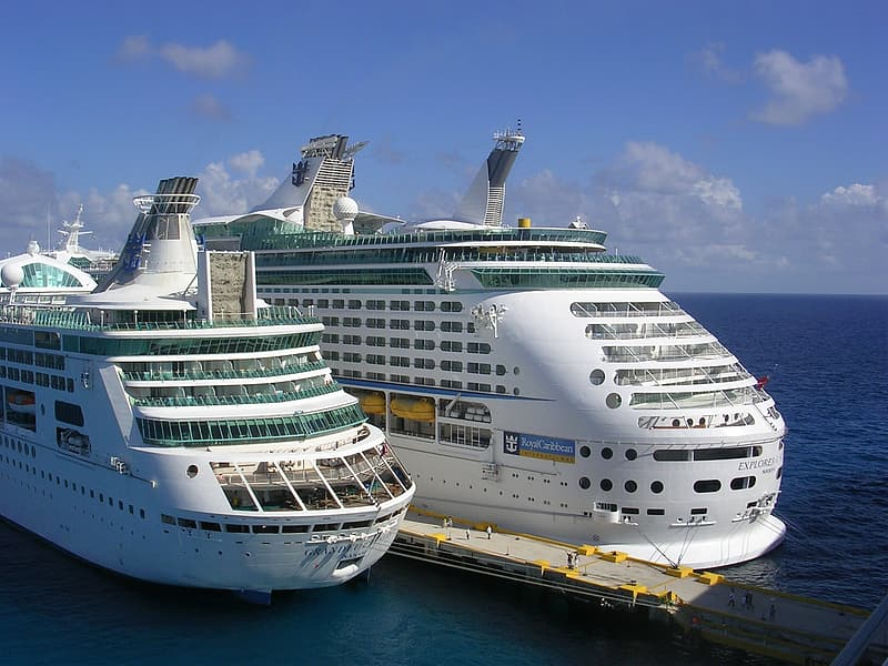 Two white cruise ships