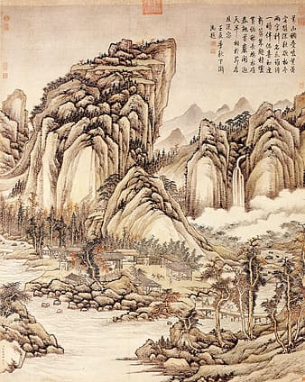 Ink, traditional chinese painting, landscape