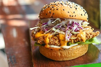Burger with chicken and cream