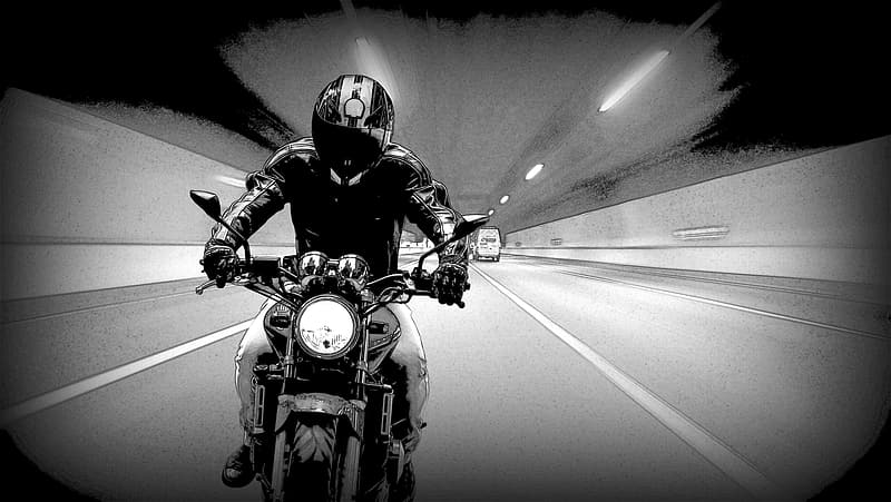 Person on motorcycle black and white illustration