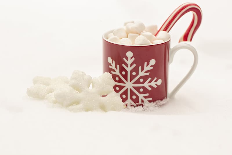 Red and white ceramic mug with candy cane